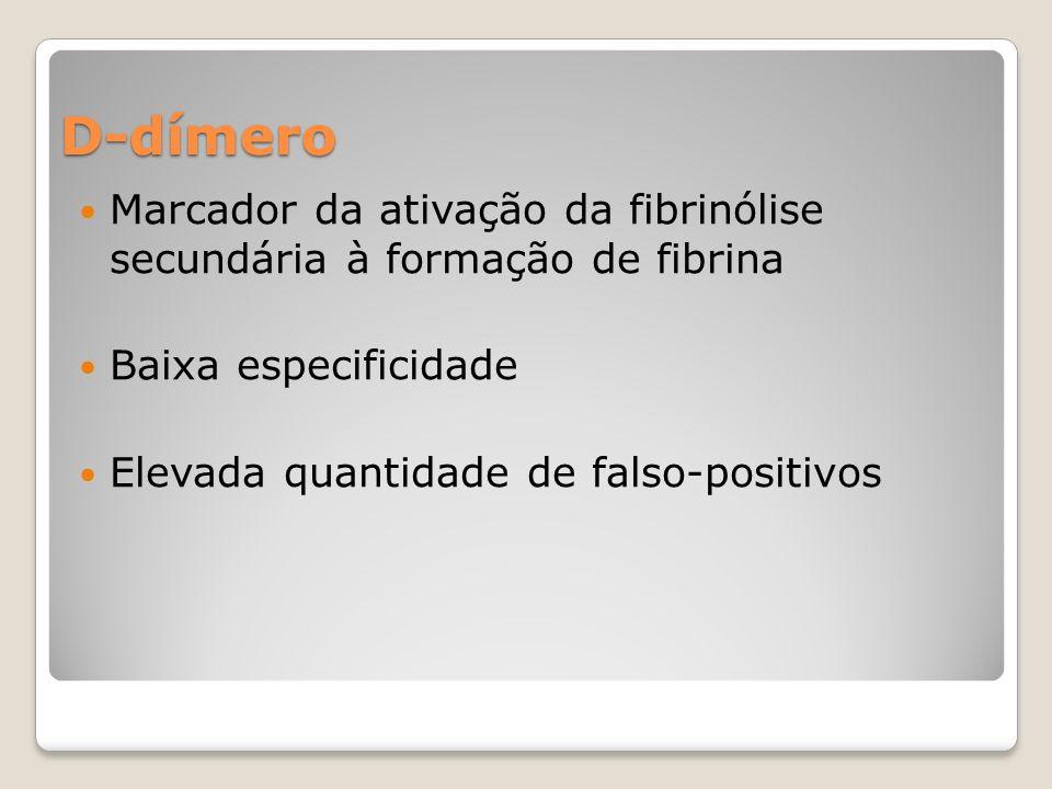 D-dímero Marcador da ativação da fibrinólise secundária à formação de fibrina Baixa especificidade Elevada quantidade de falso-positivos