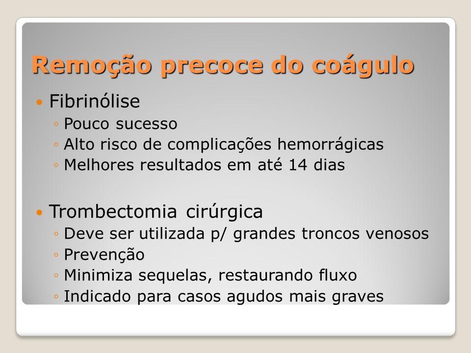 Remoção precoce do coágulo Fibrinólise Pouco sucesso Alto risco de complicações hemorrágicas Melhores resultados em até 14 dias Trombectomia cirúrgica