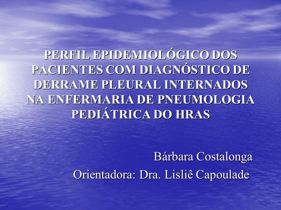 PERFIL EPIDEMIOLÓGICO DOS PACIENTES COM DIAGNÓSTICO DE DERRAME PLEURAL INTERNADOS NA ENFERMARIA DE PNEUMOLOGIA PEDIÁTRICA DO HRAS Bárbara Costalonga O