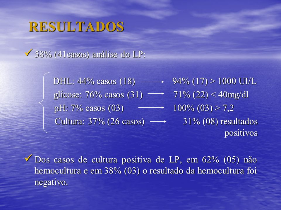 RESULTADOS 58% (41casos) análise do LP: 58% (41casos) análise do LP: DHL: 44% casos (18) 94% (17) > 1000 UI/L DHL: 44% casos (18) 94% (17) > 1000 UI/L