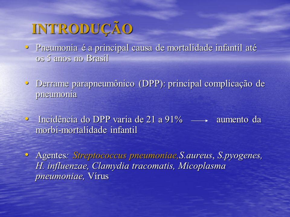 INTRODUÇÃO Pneumonia é a principal causa de mortalidade infantil até os 5 anos no Brasil Pneumonia é a principal causa de mortalidade infantil até os