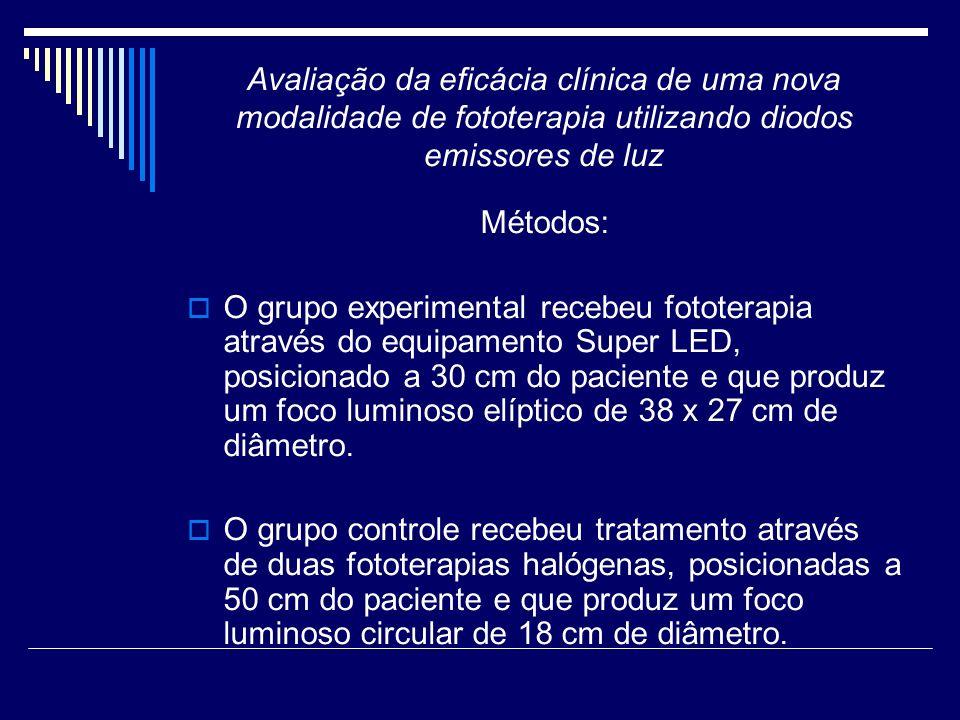 Avaliação da eficácia clínica de uma nova modalidade de fototerapia utilizando diodos emissores de luz Métodos: O grupo experimental recebeu fototerap