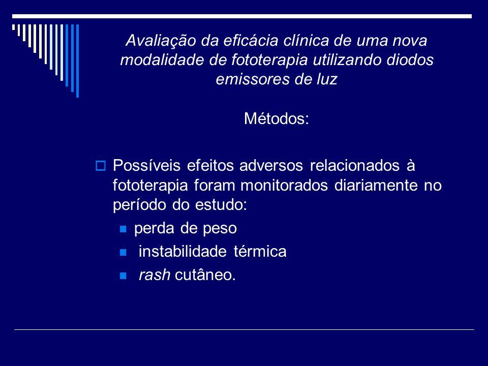 Avaliação da eficácia clínica de uma nova modalidade de fototerapia utilizando diodos emissores de luz Métodos: Possíveis efeitos adversos relacionado