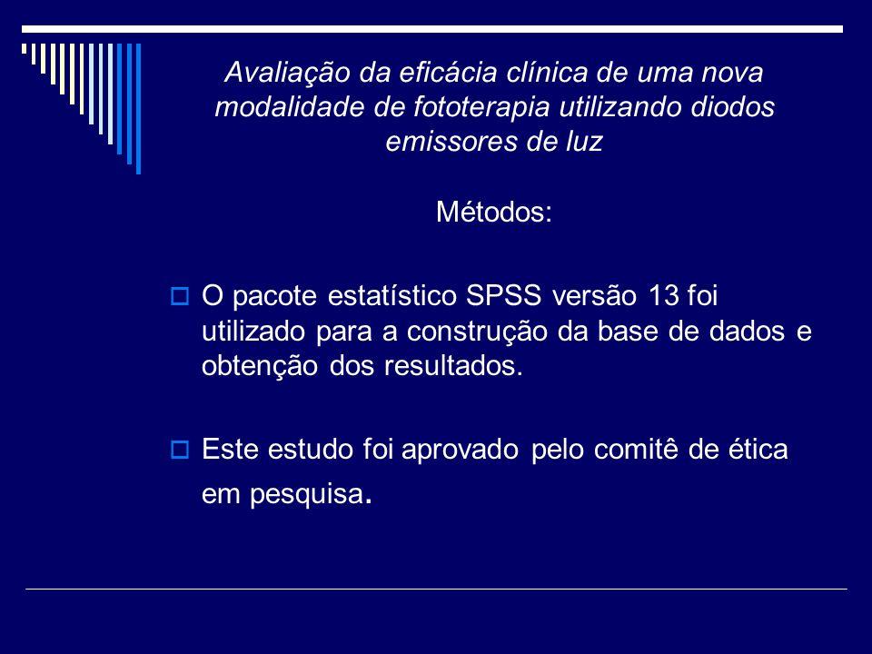Avaliação da eficácia clínica de uma nova modalidade de fototerapia utilizando diodos emissores de luz Métodos: O pacote estatístico SPSS versão 13 fo