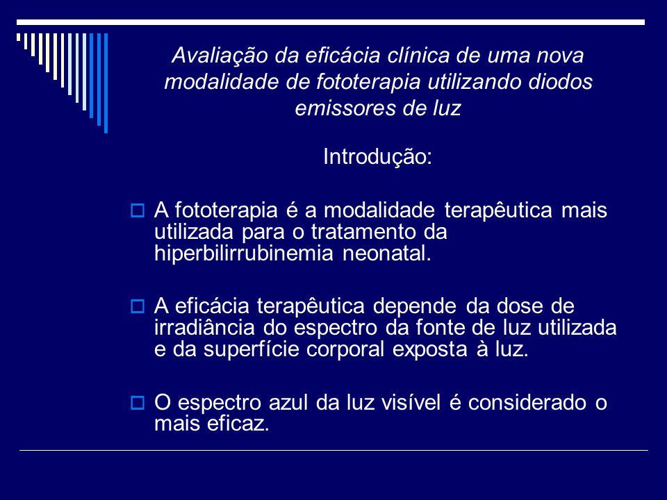 Avaliação da eficácia clínica de uma nova modalidade de fototerapia utilizando diodos emissores de luz Introdução: Existem vários aparelhos de fototerapia os quais utilizam diferentes fontes de luz: lâmpada fluorescente lâmpada halógena light emitting diode (LED)