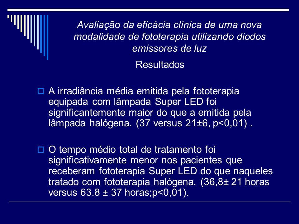 Resultados A irradiância média emitida pela fototerapia equipada com lâmpada Super LED foi significantemente maior do que a emitida pela lâmpada halóg