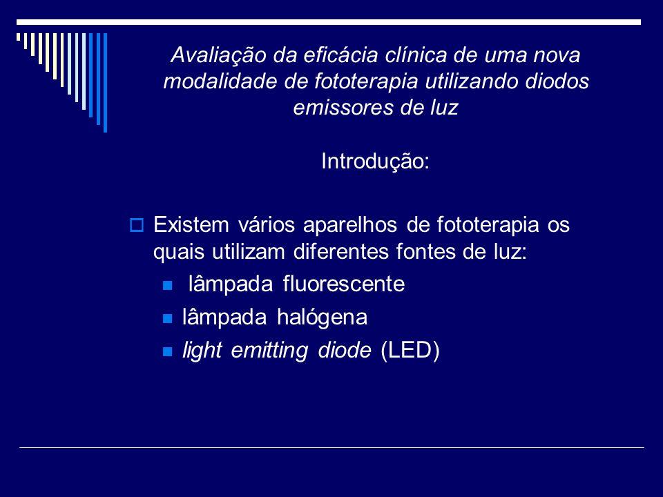 Avaliação da eficácia clínica de uma nova modalidade de fototerapia utilizando diodos emissores de luz Introdução: LED: Diodo semicondutor que emite luz quando conectado a um circuito elétrico.