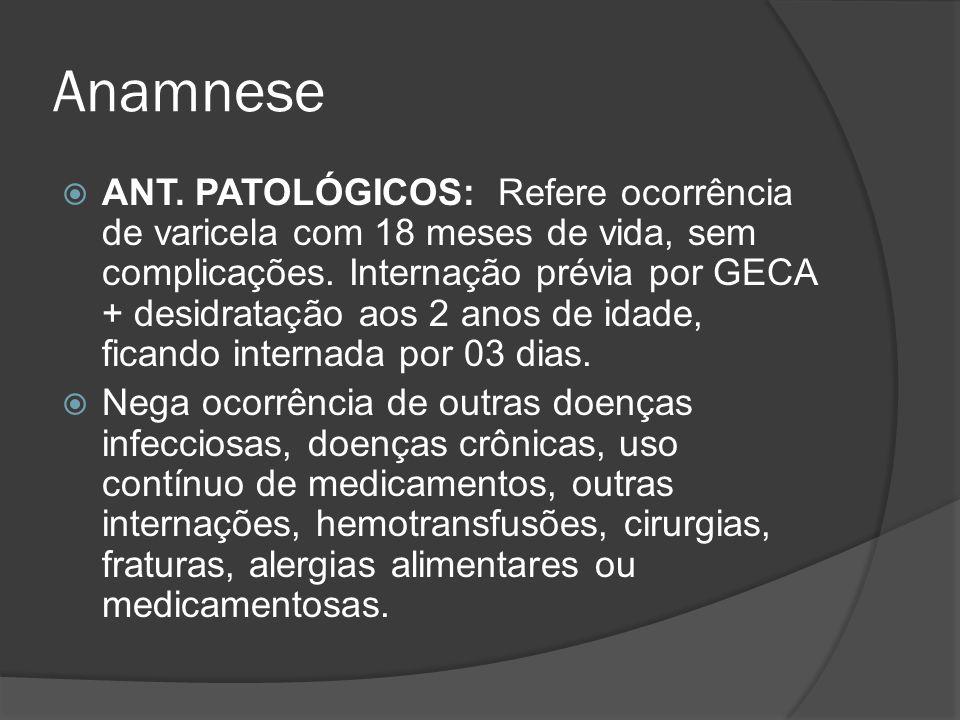 Anamnese ANT. PATOLÓGICOS: Refere ocorrência de varicela com 18 meses de vida, sem complicações. Internação prévia por GECA + desidratação aos 2 anos