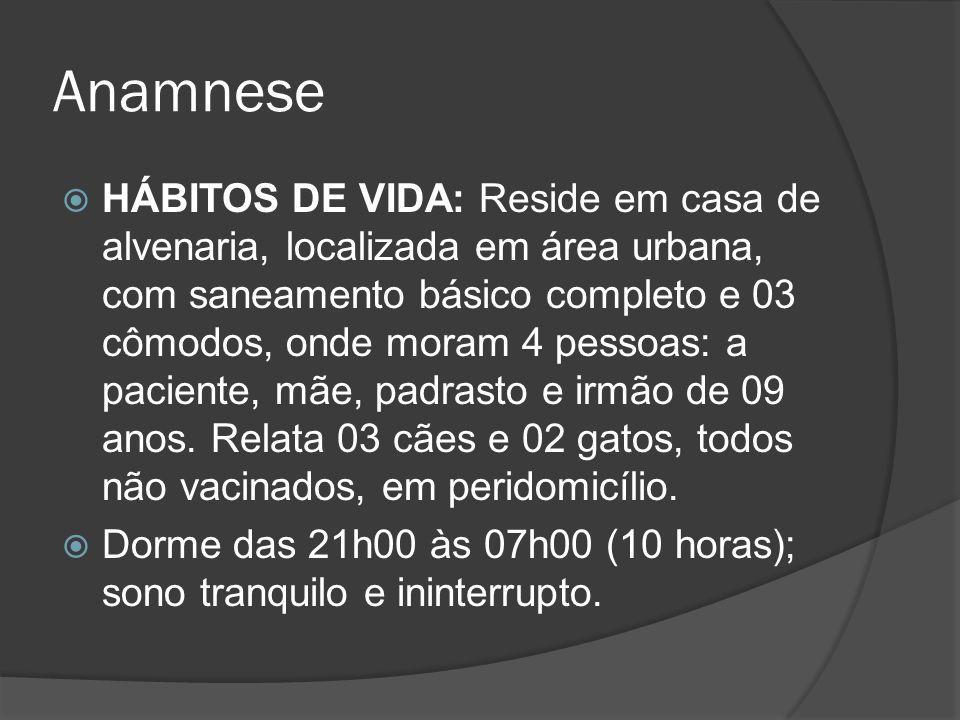 Anamnese HÁBITOS DE VIDA: Reside em casa de alvenaria, localizada em área urbana, com saneamento básico completo e 03 cômodos, onde moram 4 pessoas: a