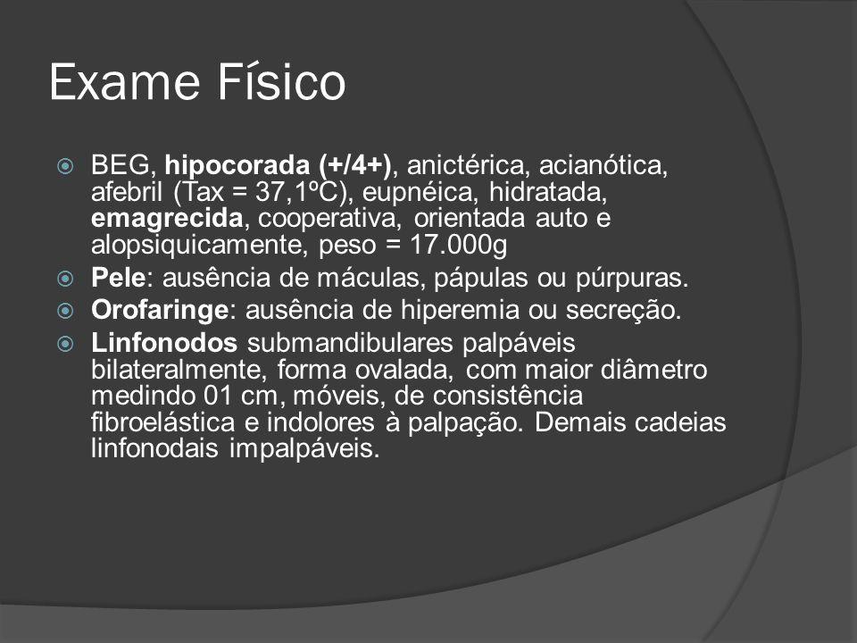 Exame Físico BEG, hipocorada (+/4+), anictérica, acianótica, afebril (Tax = 37,1ºC), eupnéica, hidratada, emagrecida, cooperativa, orientada auto e al
