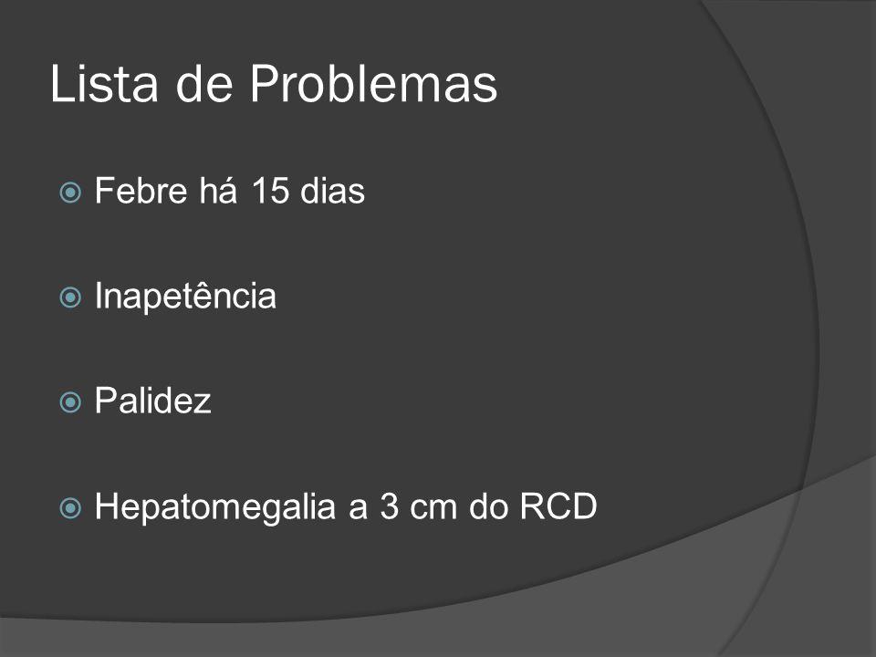 Lista de Problemas Febre há 15 dias Inapetência Palidez Hepatomegalia a 3 cm do RCD