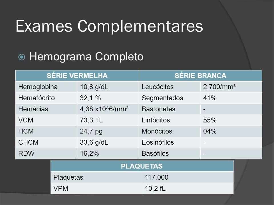 Exames Complementares Hemograma Completo SÉRIE VERMELHASÉRIE BRANCA Hemoglobina10,8 g/dLLeucócitos2.700/mm³ Hematócrito32,1 %Segmentados41% Hemácias4,