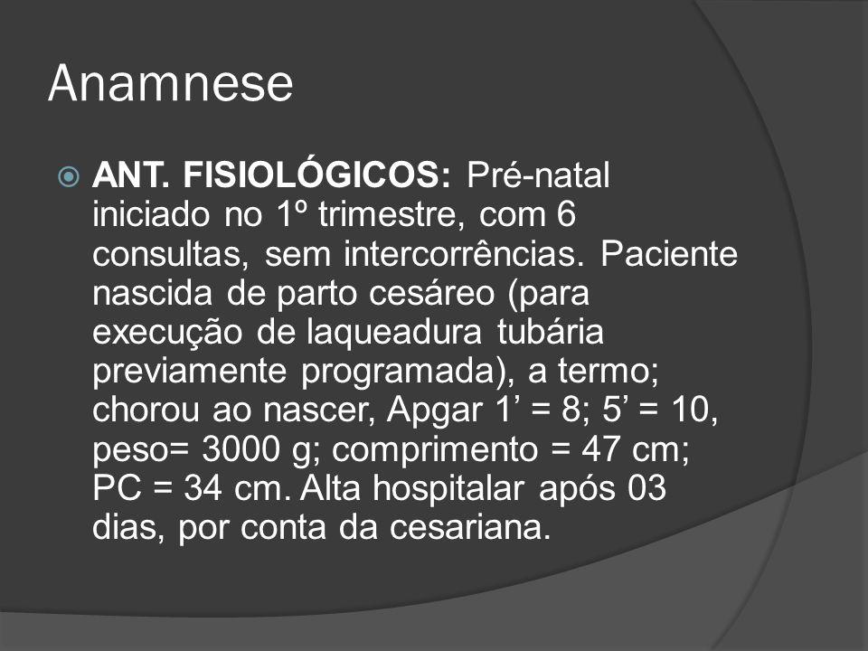 Anamnese ANT. FISIOLÓGICOS: Pré-natal iniciado no 1º trimestre, com 6 consultas, sem intercorrências. Paciente nascida de parto cesáreo (para execução