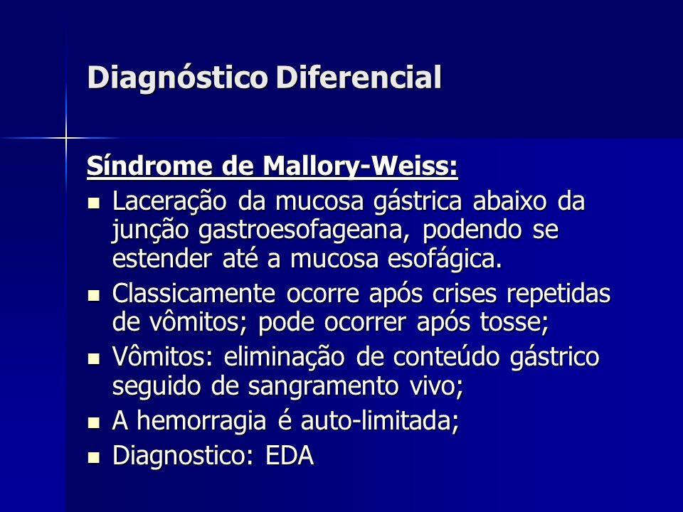 Diagnóstico Diferencial Síndrome de Mallory-Weiss: Laceração da mucosa gástrica abaixo da junção gastroesofageana, podendo se estender até a mucosa es