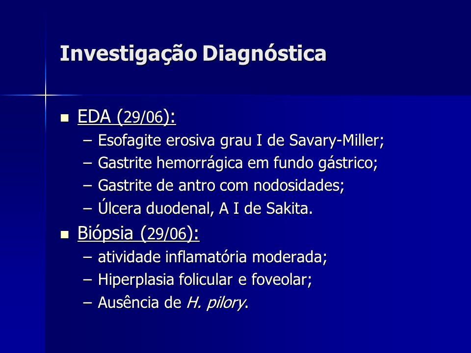 Investigação Diagnóstica EDA ( 29/06 ): EDA ( 29/06 ): –Esofagite erosiva grau I de Savary-Miller; –Gastrite hemorrágica em fundo gástrico; –Gastrite