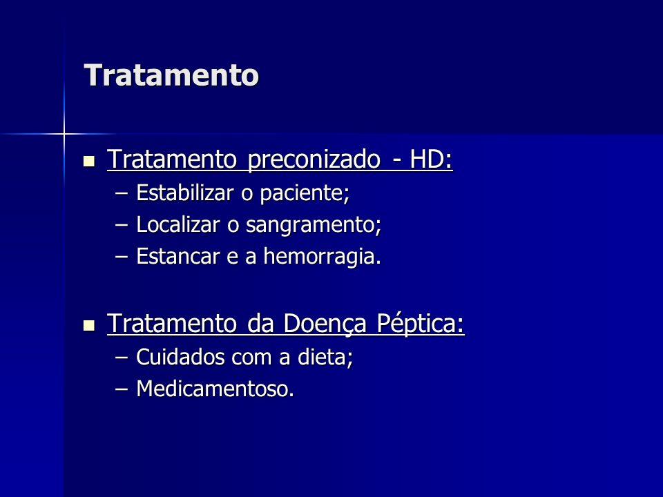 Tratamento Tratamento preconizado - HD: Tratamento preconizado - HD: –Estabilizar o paciente; –Localizar o sangramento; –Estancar e a hemorragia. Trat