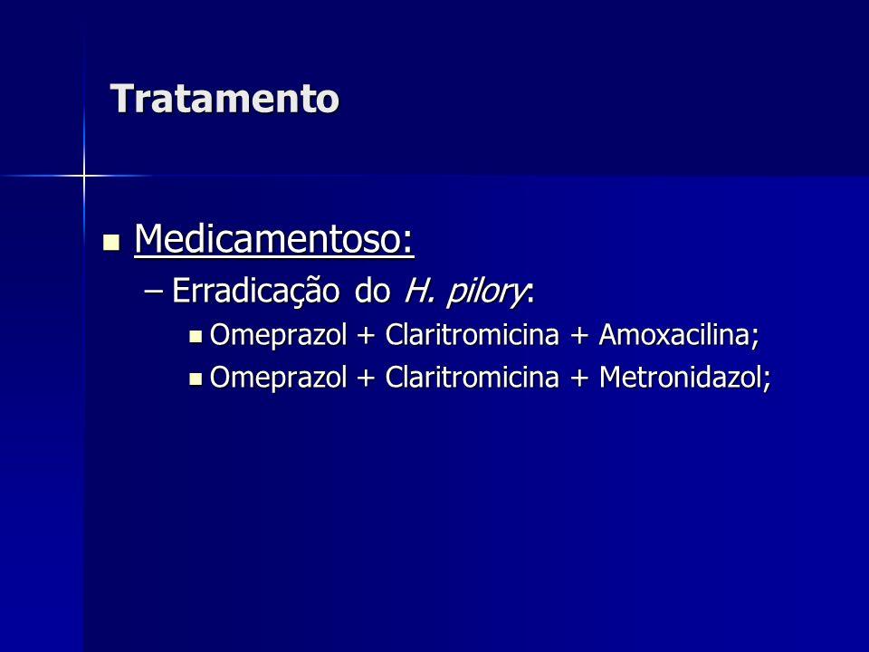 Tratamento Medicamentoso: Medicamentoso: –Erradicação do H. pilory: Omeprazol + Claritromicina + Amoxacilina; Omeprazol + Claritromicina + Amoxacilina