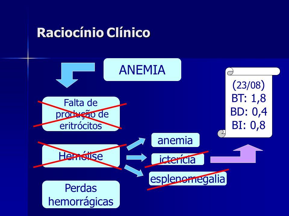 Raciocínio Clínico Perdas hemorrágicas Hemólise Falta de produção de eritrócitos ANEMIA icterícia anemia esplenomegalia ( 23/08 ) BT: 1,8 BD: 0,4 BI: