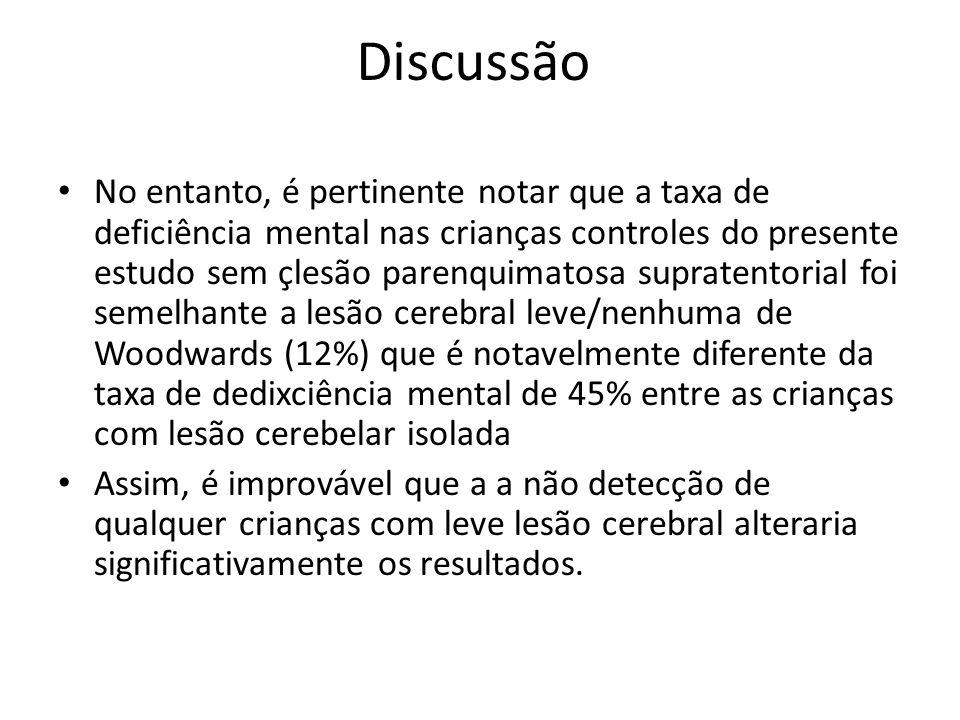 No entanto, é pertinente notar que a taxa de deficiência mental nas crianças controles do presente estudo sem çlesão parenquimatosa supratentorial foi