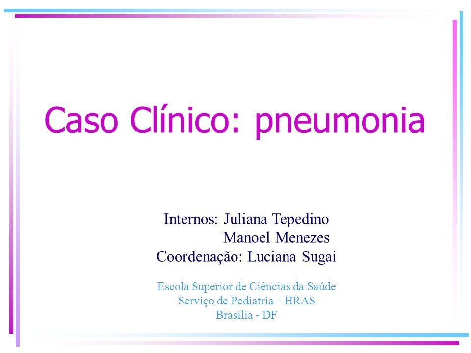 Caso Clínico: pneumonia Internos: Juliana Tepedino Manoel Menezes Coordenação: Luciana Sugai Escola Superior de Ciências da Saúde Serviço de Pediatria