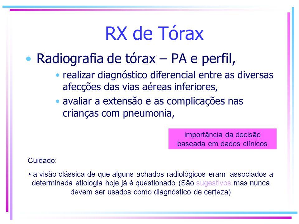 RX de Tórax Radiografia de tórax – PA e perfil, realizar diagnóstico diferencial entre as diversas afecções das vias aéreas inferiores, avaliar a exte