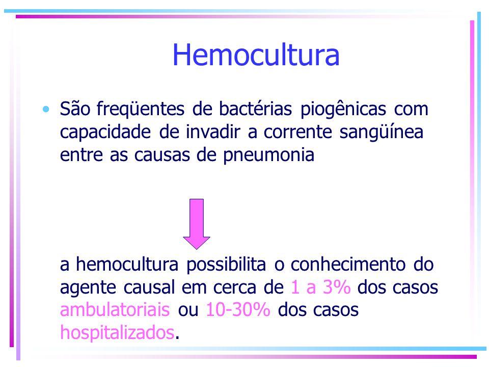Hemocultura São freqüentes de bactérias piogênicas com capacidade de invadir a corrente sangüínea entre as causas de pneumonia a hemocultura possibili