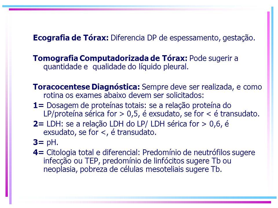 Ecografia de Tórax: Diferencia DP de espessamento, gestação. Tomografia Computadorizada de Tórax: Pode sugerir a quantidade e qualidade do líquido ple