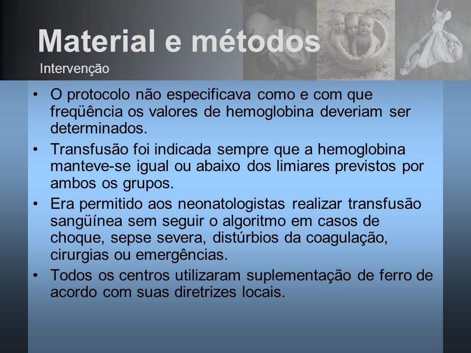 O protocolo não especificava como e com que freqüência os valores de hemoglobina deveriam ser determinados. Transfusão foi indicada sempre que a hemog