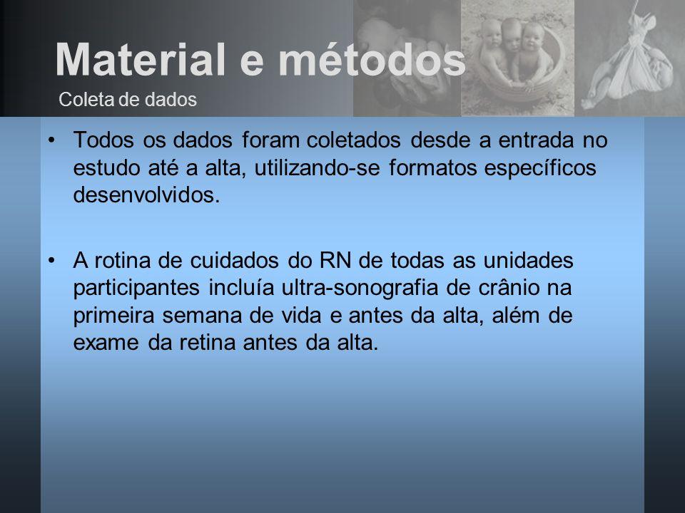 Material e métodos Todos os dados foram coletados desde a entrada no estudo até a alta, utilizando-se formatos específicos desenvolvidos. A rotina de