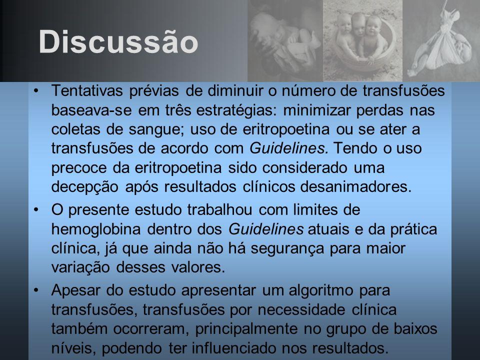 Discussão Tentativas prévias de diminuir o número de transfusões baseava-se em três estratégias: minimizar perdas nas coletas de sangue; uso de eritro