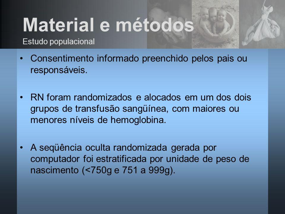 Material e métodos Consentimento informado preenchido pelos pais ou responsáveis. RN foram randomizados e alocados em um dos dois grupos de transfusão