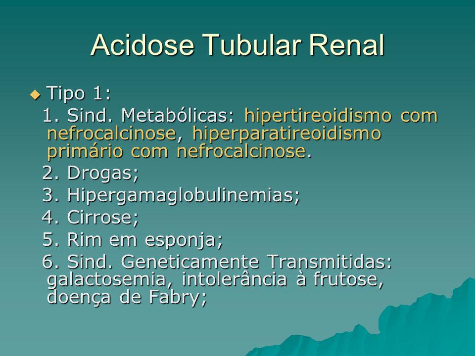 Acidose Tubular Renal Tipo 1: Tipo 1: 1. Sind. Metabólicas: hipertireoidismo com nefrocalcinose, hiperparatireoidismo primário com nefrocalcinose. 1.