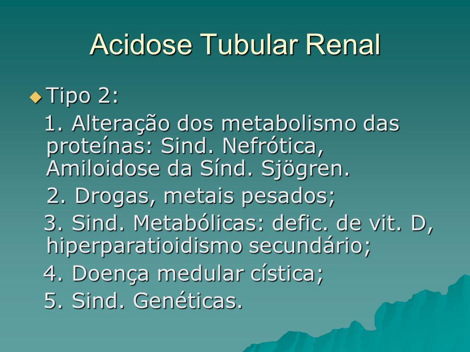 Acidose Tubular Renal Tipo 2: Tipo 2: 1. Alteração dos metabolismo das proteínas: Sind. Nefrótica, Amiloidose da Sínd. Sjögren. 1. Alteração dos metab