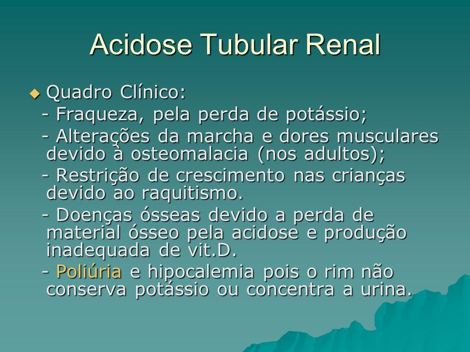Acidose Tubular Renal Quadro Clínico: Quadro Clínico: - Fraqueza, pela perda de potássio; - Fraqueza, pela perda de potássio; - Alterações da marcha e