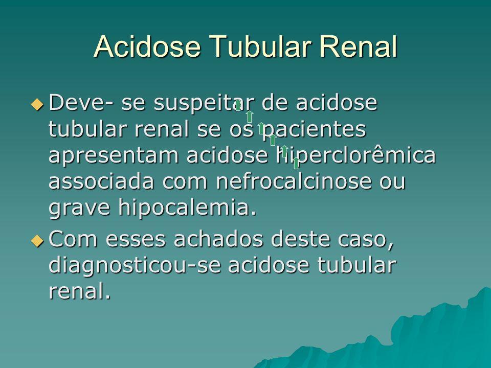 Acidose Tubular Renal Deve- se suspeitar de acidose tubular renal se os pacientes apresentam acidose hiperclorêmica associada com nefrocalcinose ou gr