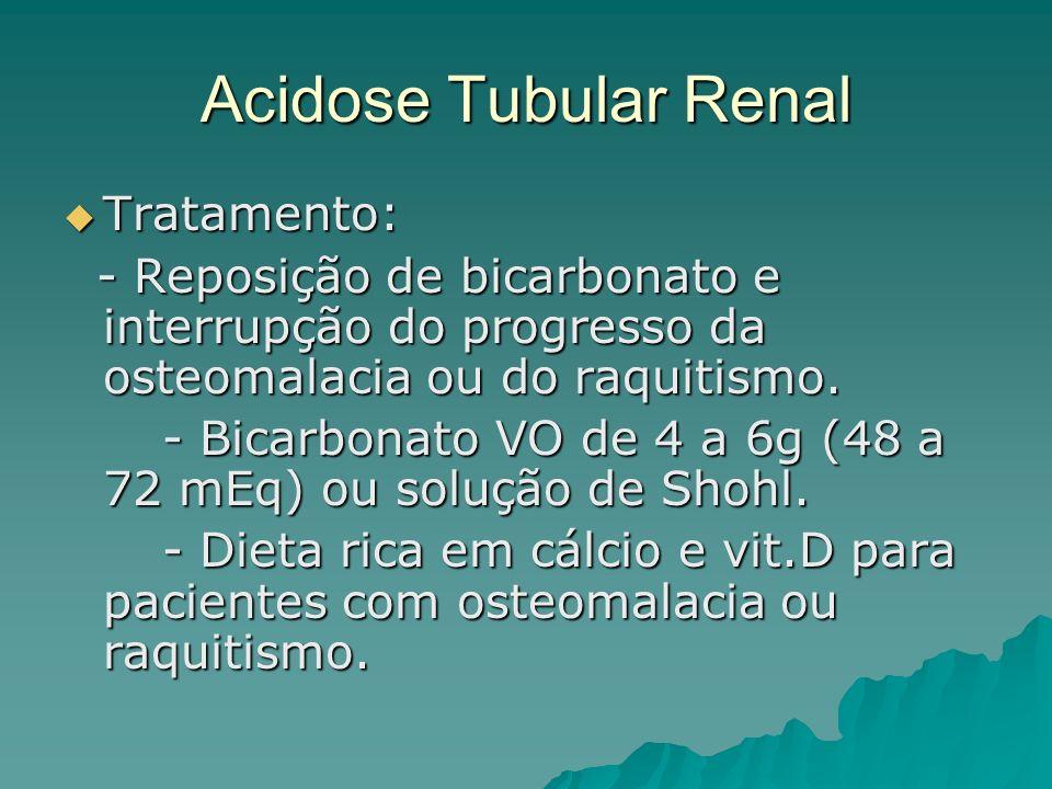 Acidose Tubular Renal Tratamento: Tratamento: - Reposição de bicarbonato e interrupção do progresso da osteomalacia ou do raquitismo. - Reposição de b