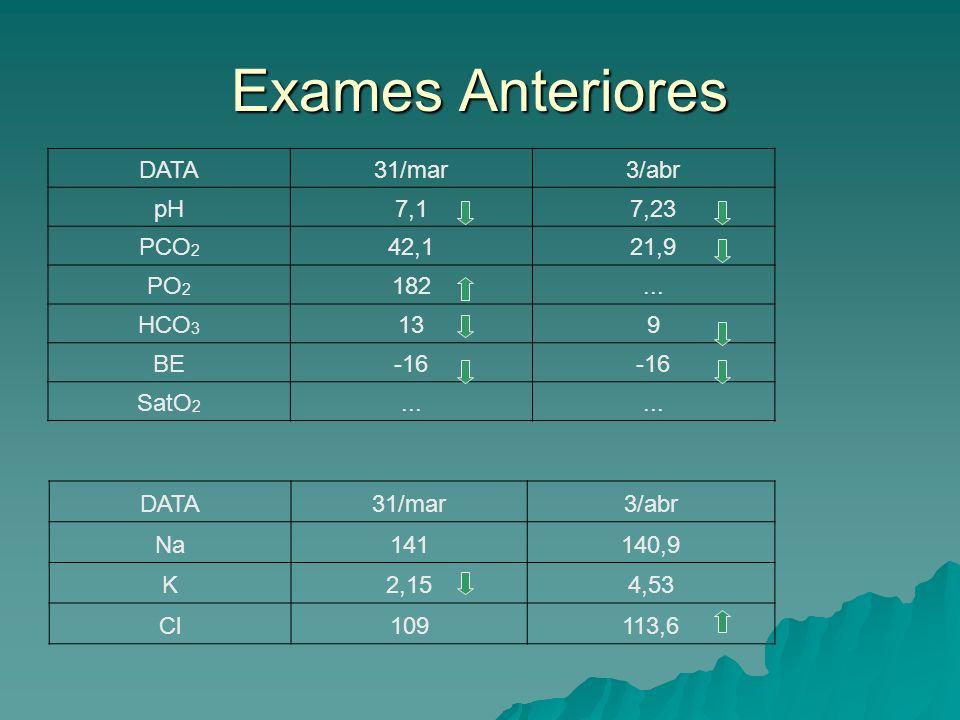 Interpretação dos exames 31/03/2005: acidose metabólica descompensada; 31/03/2005: acidose metabólica descompensada; 03/04/2005: acidose metabólica parcialmente compensada; 03/04/2005: acidose metabólica parcialmente compensada; Hipocalemia; Hipocalemia; Hipercloremia.