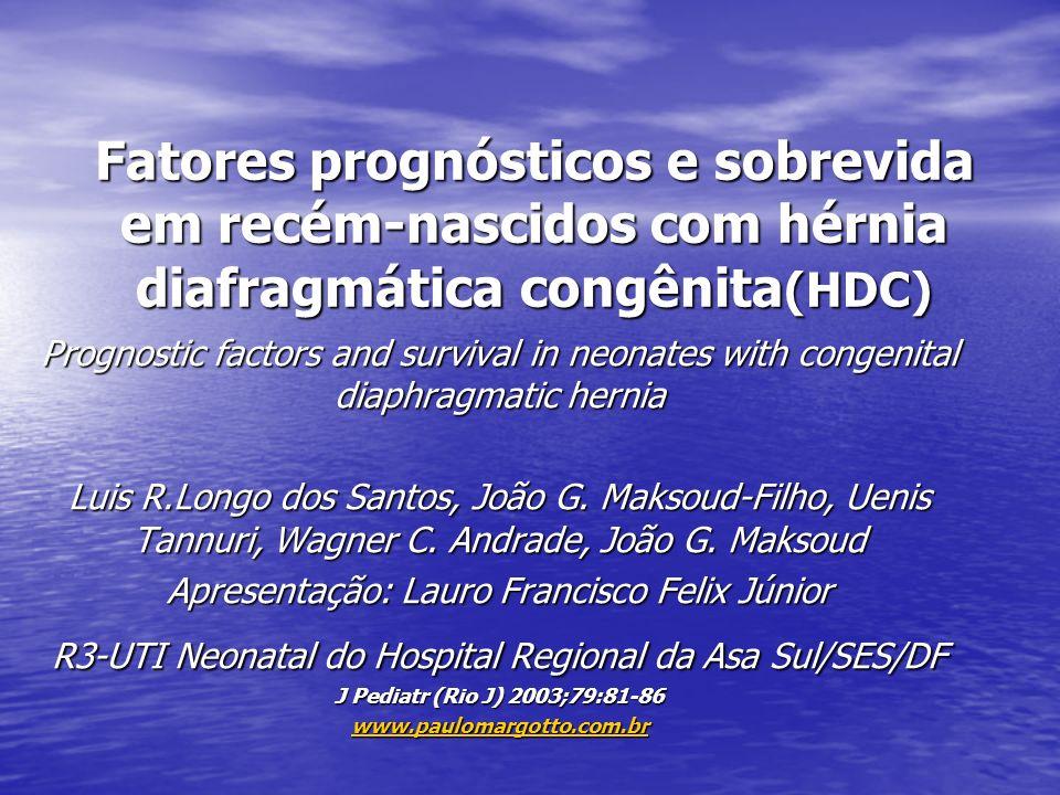Fatores prognósticos e sobrevida em recém-nascidos com hérnia diafragmática congênita (HDC) Prognostic factors and survival in neonates with congenita