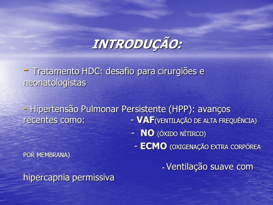 INTRODUÇÃO: - Tratamento HDC: desafio para cirurgiões e neonatologistas - Hipertensão Pulmonar Persistente (HPP): avanços recentes como: - VAF (VENTIL