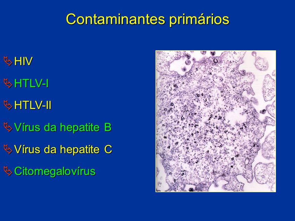 Contaminantes primários HIV HIV HTLV-I HTLV-I HTLV-II HTLV-II Vírus da hepatite B Vírus da hepatite B Vírus da hepatite C Vírus da hepatite C Citomega