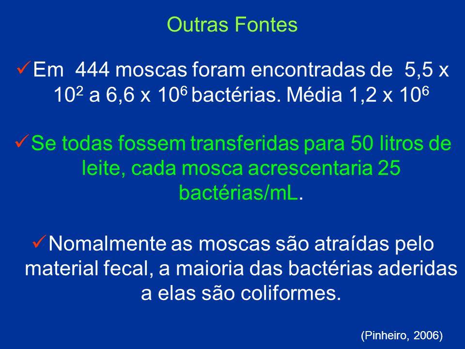 Em 444 moscas foram encontradas de 5,5 x 10 2 a 6,6 x 10 6 bactérias. Média 1,2 x 10 6 Se todas fossem transferidas para 50 litros de leite, cada mosc