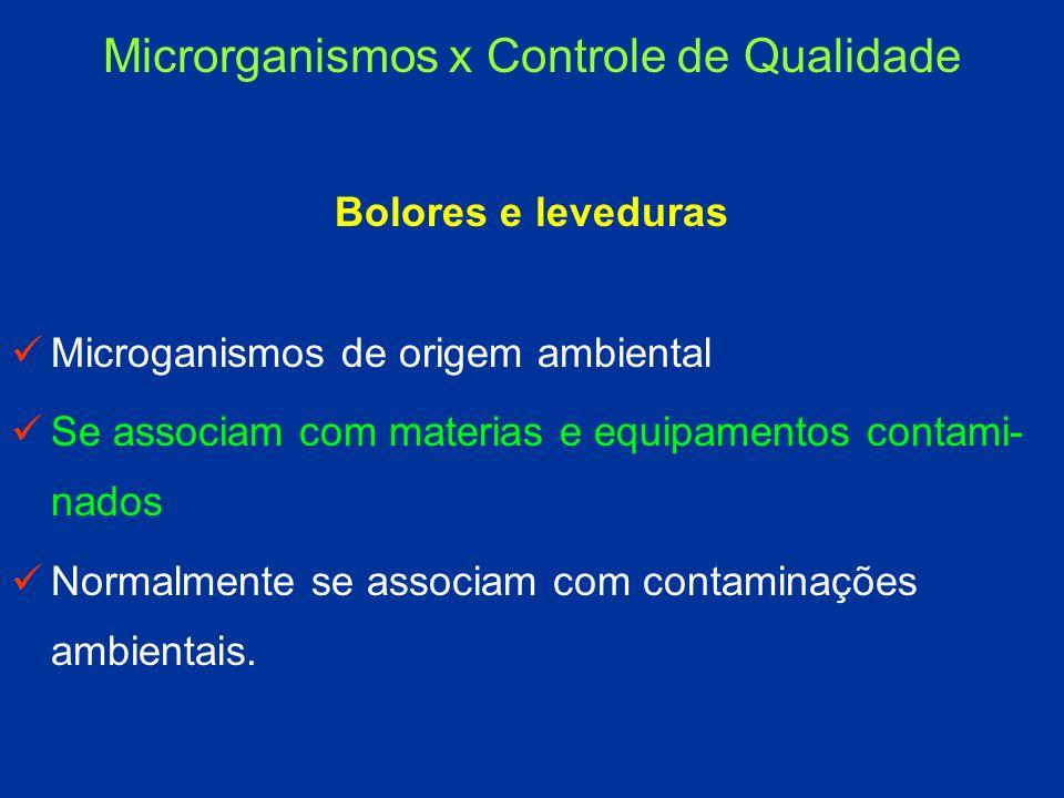 Bolores e leveduras Microganismos de origem ambiental Se associam com materias e equipamentos contami- nados Normalmente se associam com contaminações