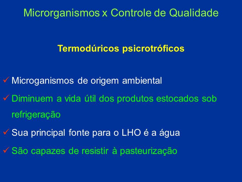 Termodúricos psicrotróficos Microganismos de origem ambiental Diminuem a vida útil dos produtos estocados sob refrigeração Sua principal fonte para o