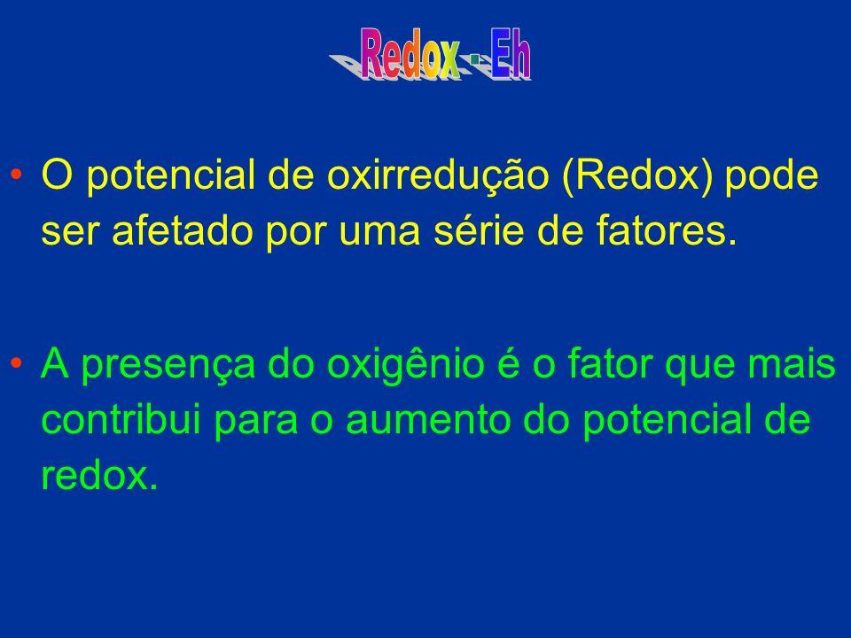 O potencial de oxirredução (Redox) pode ser afetado por uma série de fatores. A presença do oxigênio é o fator que mais contribui para o aumento do po