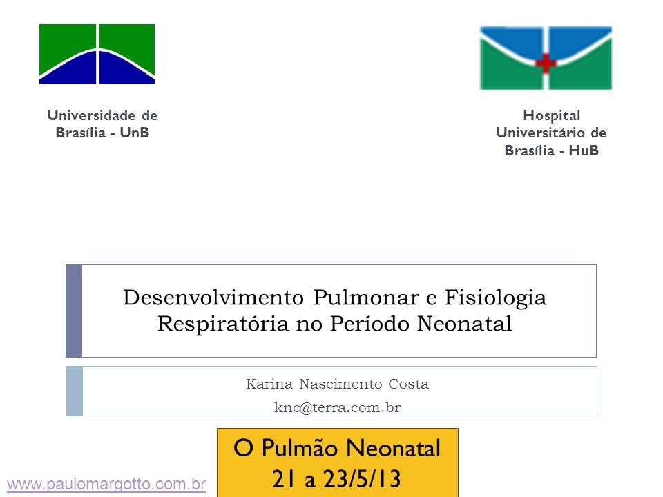Desenvolvimento Pulmonar e Fisiologia Respiratória no Período Neonatal Karina Nascimento Costa knc@terra.com.br Universidade de Brasília - UnB Hospita