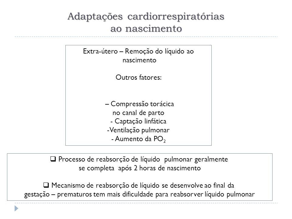 Extra-útero – Remoção do líquido ao nascimento Outros fatores: – Compressão torácica no canal de parto - Captação linfática -Ventilação pulmonar - Aum