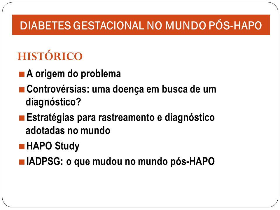 Hyperglycemia and Adverse Pregnancy Outcome: Resultados: Relação contínua de níveis glicêmicos mais altos e aumento na frequência de desfechos primários (peso ao nascer > percentil 90; cesariana, hipoglicemia neonatal e peptídeo C do cordão > percentil 90) e desfechos secundários (PE, TPP, distocia de ombro, tocotraumatismo, hiperbilirrubinemia e admissão em UTI neonatal) DIABETES GESTACIONAL NO MUNDO PÓS-HAPO