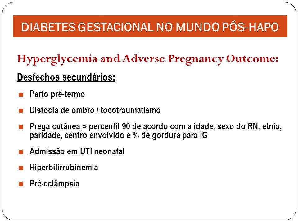 Hyperglycemia and Adverse Pregnancy Outcome: Desfechos secundários: Parto pré-termo Distocia de ombro / tocotraumatismo Prega cutânea > percentil 90 de acordo com a idade, sexo do RN, etnia, paridade, centro envolvido e % de gordura para IG Admissão em UTI neonatal Hiperbilirrubinemia Pré-eclâmpsia DIABETES GESTACIONAL NO MUNDO PÓS-HAPO