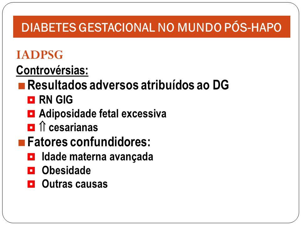 IADPSG Controvérsias: Resultados adversos atribuídos ao DG RN GIG Adiposidade fetal excessiva cesarianas Fatores confundidores: Idade materna avançada Obesidade Outras causas DIABETES GESTACIONAL NO MUNDO PÓS-HAPO
