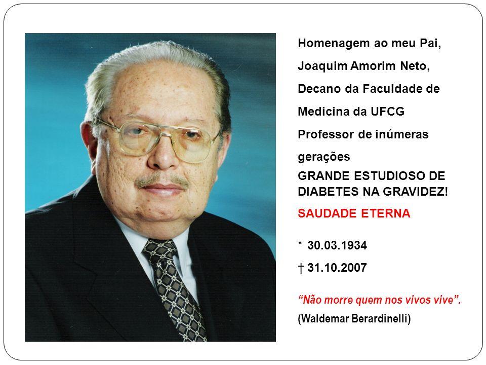 Homenagem ao meu Pai, Joaquim Amorim Neto, Decano da Faculdade de Medicina da UFCG Professor de inúmeras gerações GRANDE ESTUDIOSO DE DIABETES NA GRAVIDEZ.